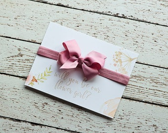 Will you be my Flower Girl, Will you Help me Tie The Knot - Mauve Flower Girl Gift - Flower Girl Proposal - Flower Girl Headband Favors