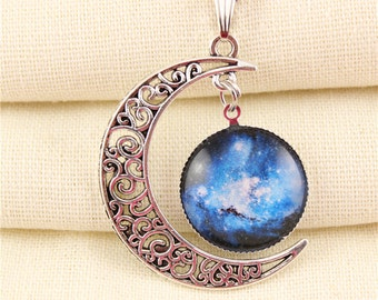 Cresent moon necklace galaxy space hollow moon shaped pendant silver tone alternative fantasy