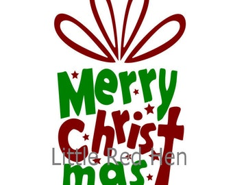 Merry Christmas SVG shaped like a gift with a Cross