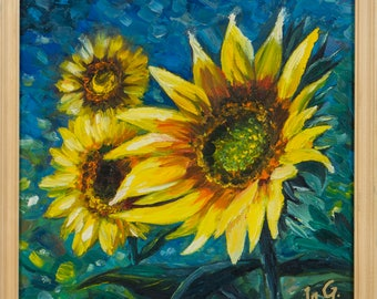 """Oil painting like Van Gogh """"Sunflowers"""" , FREE SHIPPING"""