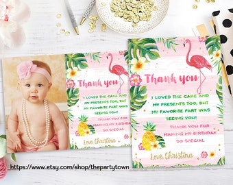 Pineapple Birthday party thank you note, Flamingo Thank you card, Tropical Party note card, Girls Summer Invitation, Pineapple Flamingo