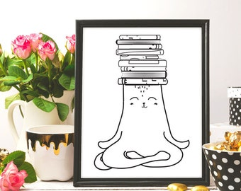 books poster, Cat print, Yoga Cat Books, yoga art printable, nursery reading wall art, nursery digital print, cat yoga, printable wall art