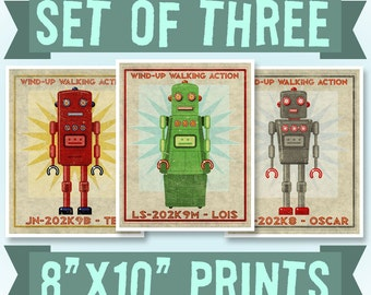 "Robot Wall Art for Boys Room Decor, Retro Robot Art Prints, 8"" x 10"", 3 Robot Prints, Land of Nod Retrobot Series, Sci Fi Art, Kid Bedroom"