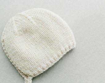 Luke Newborn Bonnet, cream knit newborn bonnet, newborn photography prop