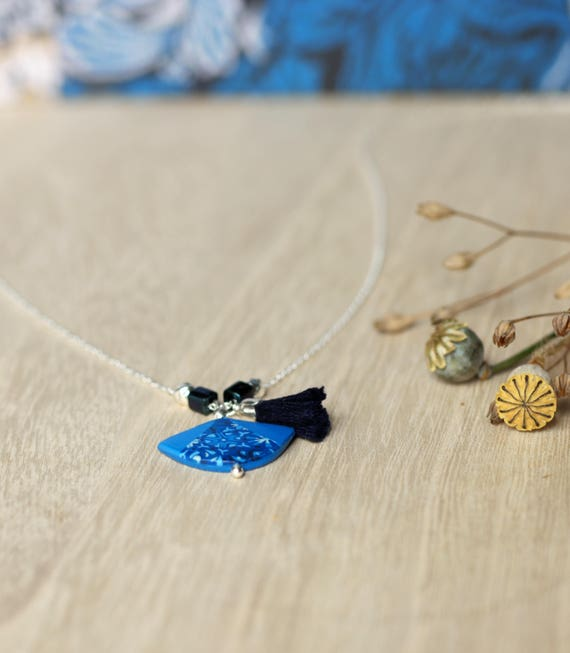 Blue necklace, fan-shaped pendant with handmade patterns on sterling silver chain 'Agathis'