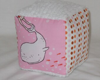 Mermaids and Chenille Fabric Boutique Block Rattle