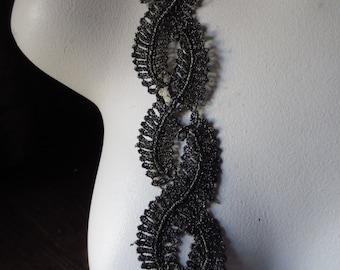 Black Gold Lace Trim for Appliques, Reenactment, Regency, Couture CL 5027
