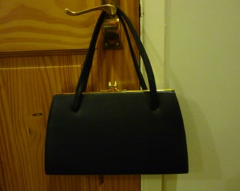 Vintage Kelly Handbag. Navy Blue Kelly Handbag, Kelly Purse. Faux Leather bag.