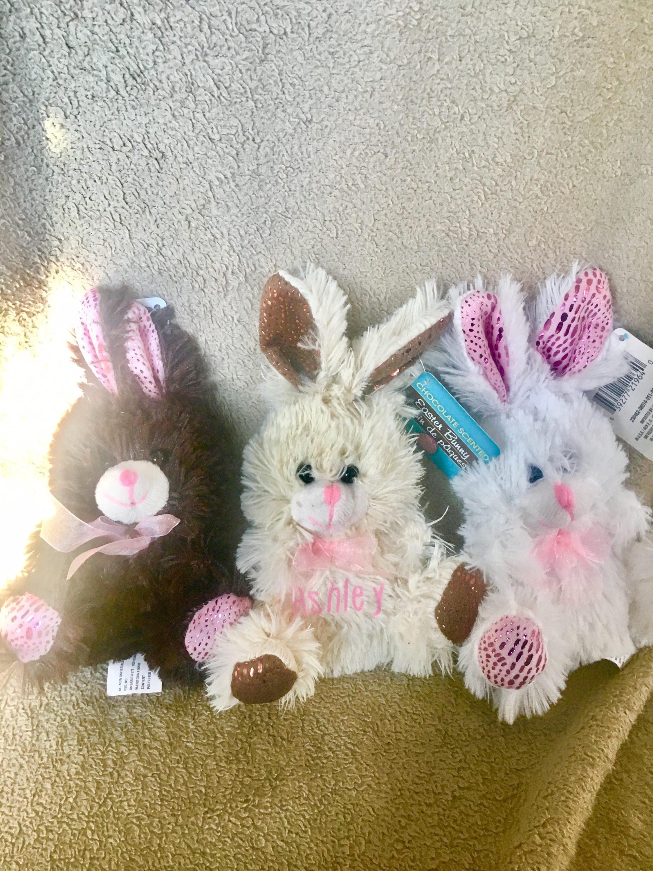 Custom chocolate scented plush easter bunny baby gift personalized custom chocolate scented plush easter bunny baby gift personalized with childs name white cream brown bunnies negle Choice Image