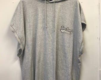 Vintage 90s 1990s Streetwear Sportswear No Name 'Pure Sweat Athletics' Grey Hoodie Hooded Tee Tshirt