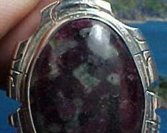 Large Hand Made Dragons Blood Eudialyte Sterling Silver Pendant af014