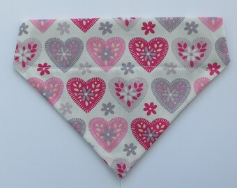 Pink & Grey Sweet Hearts Print Over the Collar Cotton Dog Bandana (s)