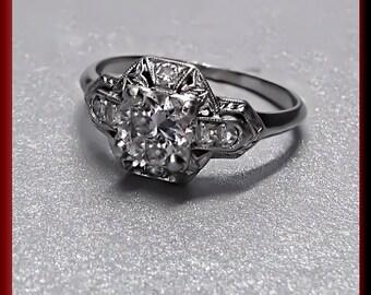 Vintage Diamond Engagement Ring Art Deco Diamond Engagement Ring with Old European Cut Diamond Platinum Wedding Ring - ER 373S