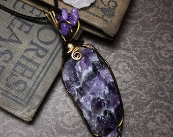 Large Wire Wrapped Raw Chevron Amethyst Pendant February Birthstone Valentines Day gift necklace Bohemian statement piece