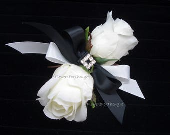 White Rose Corsage Black Ribbon, Wedding, Prom, Homecoming Flowers