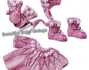 Pink Blossum Baby Layette Crochet Pattern Jacket Bonnet Bootee Shoe Mittens 3 Ply CROCHET PATTERN PDF, 18-20 inch 45-50 cm,