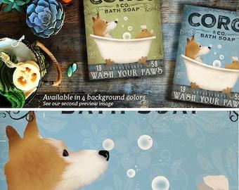 Corgi bath soap Company dog  artwork on gallery wrapped canvas by Stephen Fowler