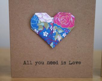Origami heart Wedding/Anniversary/Valentines card