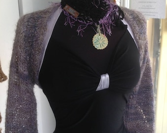 Purple Swirl Shrug handknit handspun