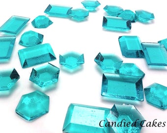 TURQUOISE EDIBLE SUGAR Jewels - Cupcake Toppers, Wedding Cake Decorations, Candy or Dessert Table, Sugar Gems, Featured in Brides Magazine