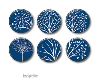 Pinback button badges or fridge magnets White Trees, fridge magnet set
