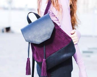 PURPLE SUEDE BACKPACK, leather backpack women, purple leather backpack, backpack with 2 types leather, leather backpack with tassels