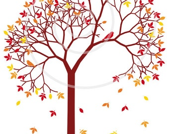 Autumn tree with colorful leaves and birds, digital clip art, clipart, clip-art, fall, seasonal, print, printable, vector, instant download