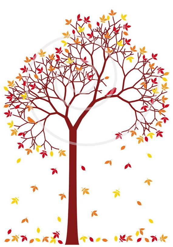 autumn tree with colorful leaves and birds digital clip art rh etsy com Clip Art of Autumn Scenery autumn apple tree clipart