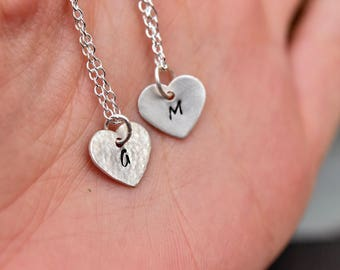 Heart initial necklace - Heart shaped gift  - Personalized girlfriend gift - Flower girl gift - Bridal party necklace -