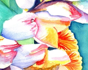shell ginger art, original watercolor painting, tropical foliage, hawaiian paintings,  kauai hawaii, watercolour art,  kauaiartist, flowers