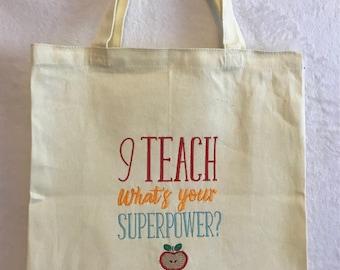 Teacher tote canvas bag