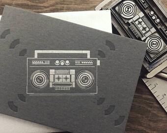 Boombox letterpress card