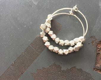 Paris .925 Sterling Silver 1.5 Inch Hoops with Faceted Thai Bead - Small