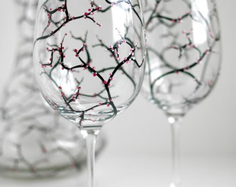 Cherry Blossom Wine Glasses - Set of 4 Hand-Painted Glasses - Mothers Day Glasses, Gifts for Mom, Mother's Day gift