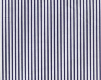 Fabric - Sevenberry navy stripe - shirt weight woven cotton