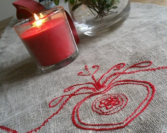 Natural 100% linen table runner cloth with flax/linen lace and freehand embroidered detail in red cotton at both ends