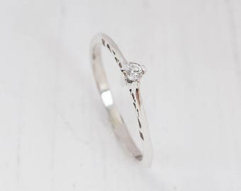 Tiny ring, Small ring, Delicate ring, Silver solitaire ring, Promise ring for her, Victorian ring silver, Antique ring silver, Filigree ring