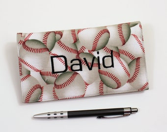 Personalized Fabric Checkbook Cover for Duplicate Checks with Pen Holder - Baseball, Fathers Day Gift, Monogrammed Gift for Guy Check Book