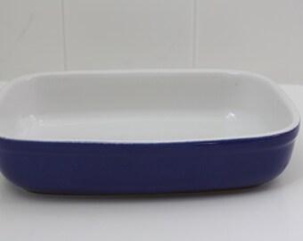 vintage blue baking dish