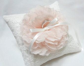 Blush ring pillow, ring bearer pillow, wedding ring pillow, white lace ring pillow, wedding ring bearer pillows, wedding ring cushion
