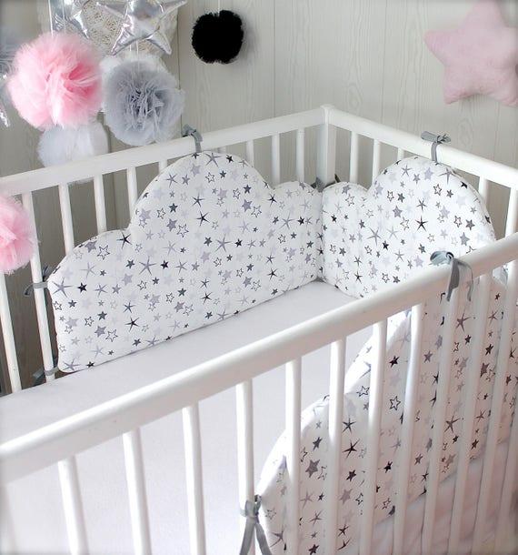 tour de lit b b 60cm large nuage toil noir et blanc 180cm. Black Bedroom Furniture Sets. Home Design Ideas