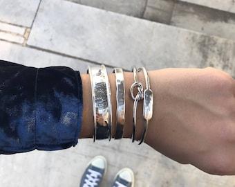 Combo of 4 Bracelets / Silver Statement Cuff Bracelet Set / Silver Plated Brass / Stacked Bracelets / Layered Bracelets