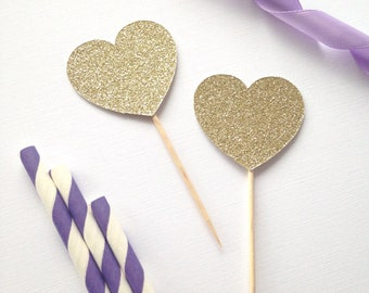 Heart Cupcake Toppers - Glitter Heart - First Birthday - Girls Birthday - Valentines - Love - Hearts Party Decor