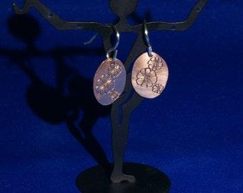 Copper 'Flower' Earrings, Hand Engraved, Hand Made