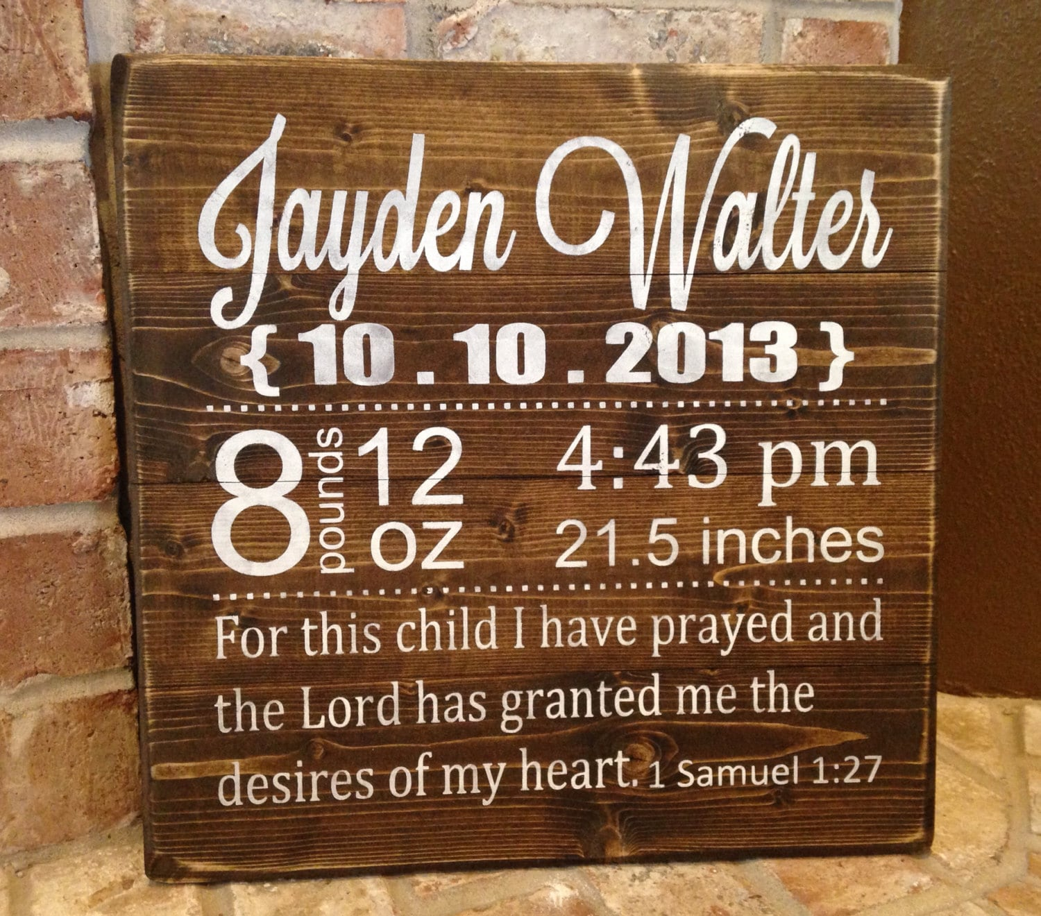 Personalized baby gift stats baby gift rustic sign zoom negle Gallery