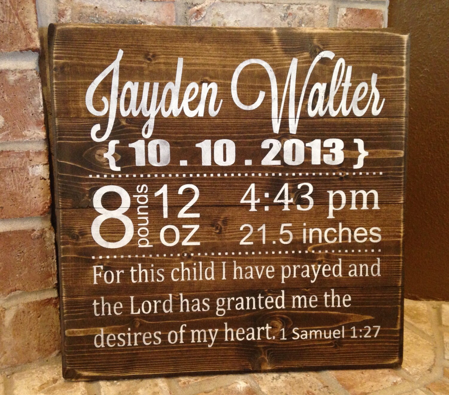 Personalized baby gift stats baby gift rustic sign zoom negle Image collections