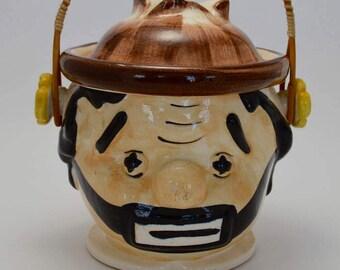 Vintage Clown Cookie Jar, Biscuit Jar with Handle, Glazed Ceramic Clown, Sad Clown Face Canister