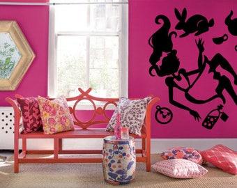 Wall Sticker Decals Alice In Wonderland Cartoon Rabbit Tea Time Cheshire Cat Girl Nursery Bedroom 1386b
