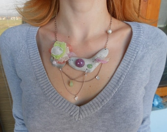 Necklace with AgateStone+Wood+Pearls+Metal+Glass+Organza!~Porcelain Dawns~ ElvishOOAK Necklace in White+Pink+Mint+Blush+Chartreuse!