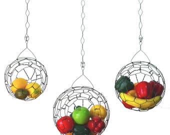 Wire Hanging Basket Set, Vintage Style, Handmade, Farmhouse Fruit Basket, Kitchen, Sphere